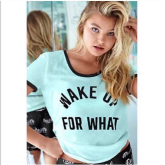 """PINK Victoria's Secret Tops - Vs Pink """"Wake Up For What"""" Ringer Tee"""